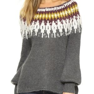 Free People Sweaters - Free People Baltic Fairisle Sweater in Burgundy